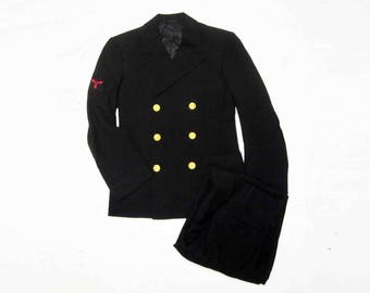 Vintage WWII U.S. Navy Officers Coat and Pants. Circa 1940's.