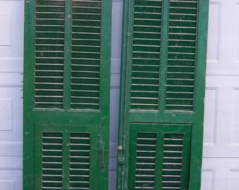 vintage wood shutters,mediterranean  wood shutters,chippy GREEN paint,reclaimed