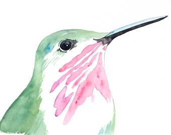 "ORIGINAL Watercolor Hummingbird, 8""x10"" Watercolor Sketch, Calliope Hummingbird Painting, Watercolor Bird Painting, Hummingbird Art"