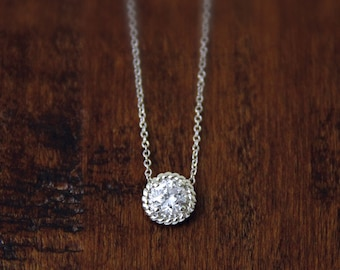0.8 ct Rope Halo Solitaire Pendant Necklace-Brilliant Cut Diamond Simulant-Bridal Necklace-Daily Necklace-Solid Sterling Silver [6450]