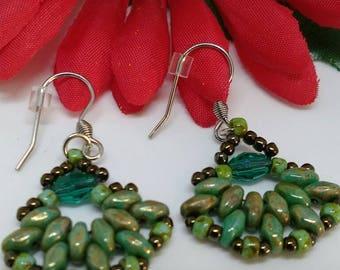 Hues of Green Beaded Earrings