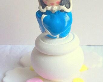 polymer clay / hand/Japan/kokeshi/geisha/personalized/deco room girl tooth/box/wood/kawaii/blue/idea gift/made box / box jewelry