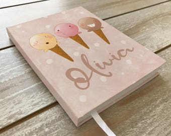 Ice cream journal / Personalized journal / Girls diary / Ice cream paintings / Pink / Tan / Blue / School notebook / Ice Cream / Chocolate