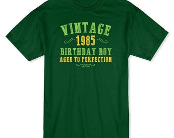 Vintage 1985 Age Perfection Graphic Quote Men's Forest Green T-shirt