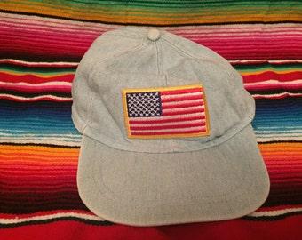 VTG 90s light denim adjustable hat with USA patch on front