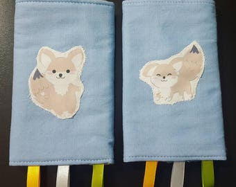 Little fox baby carrier drool pads - blue and green - two faced - ergobaby
