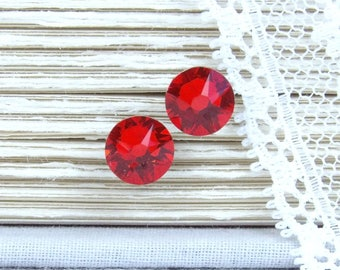 Red Studs Crystal Stud Earrings Rhinestone Studs Red Crystal Studs Red Stud Earrings Surgical Steel Studs