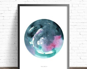 Watercolor circle art. Modern art print. Circle Print. Minimalist painting. Abstract art print. Modern home decor. Abstract watercolor print