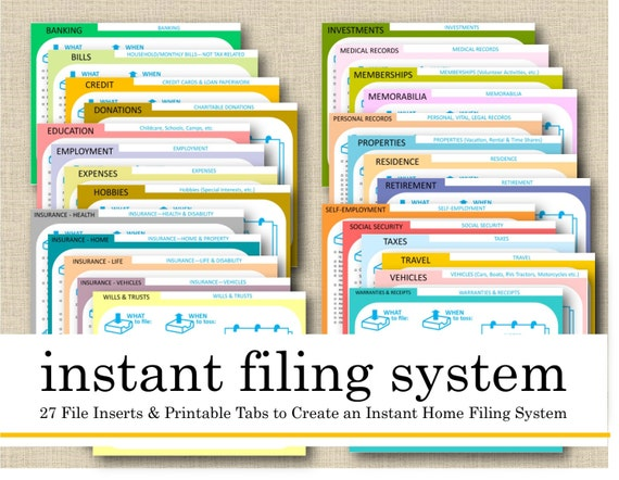 printable instant filing system 27 file cards index. Black Bedroom Furniture Sets. Home Design Ideas