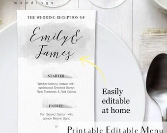 Gray watercolor printable menu, printable light gray wedding menu, watercolor menu card, steel wedding invitation, silver watercolor menu