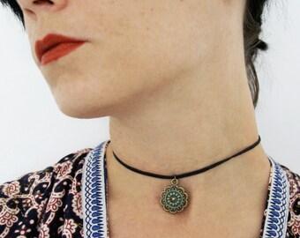 Boho Choker,Bronze Patina,Ethno Choker,Hippie Choker,Short Necklace,adjustable