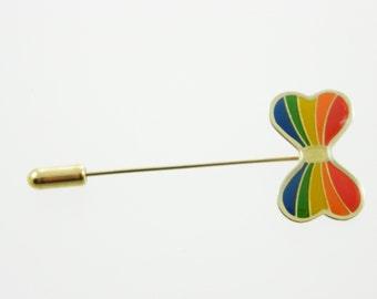 Vintage Rainbow Bow Stick Pin