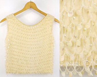 1950s Vintage Beaded Knit Sleeveless Top Cocktail Shell Sequined Blouse