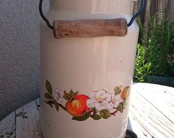 Vintage enamel pot, enamel milk pot, enamel milk container