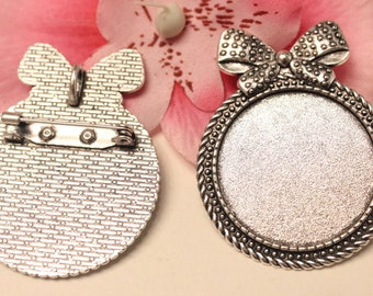1 brooch pin silver knot ring 30mm