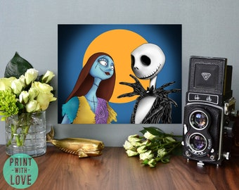 Nightmare Before Christmas Jack Skellington and Sally Inspired Digital Illustration Print Goth Halloween FREE Shipping