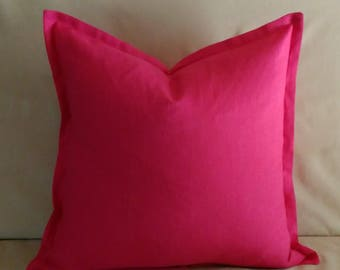 Hot Pink Linen Pillow Cover Fuchsia Pink 18x18 20x20 22x22 with Flange or Piping