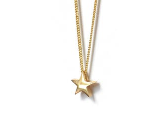 Gold Mini Star Necklace, Solid 9ct Gold, Star Charm Necklace, Christening Gift, Wedding, Everyday jewellery, Minimalist jewellery