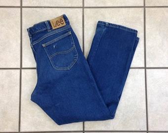 Vintage Lee Indigo Dark Wash Straight Leg Jeans - 35x30 - Made in USA