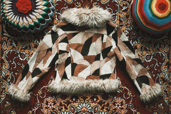 Super 1970's duper fur jacket trim with jacket faux patchwork style leather psychedelic groovy U6pU1