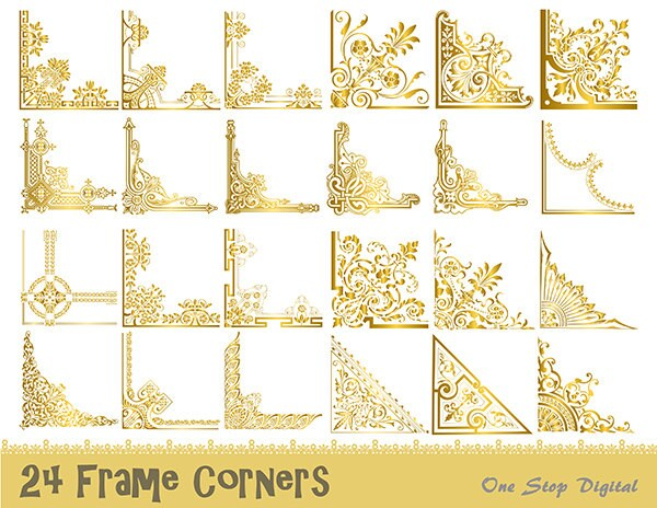24 Gold Vintage Frame Corner Digital Clipart Gold Flourish