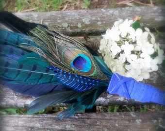 Smudge Fan-Pheasant-Raven-Crow-Pay with PayPal get a free spell in the box! Blue-Green-Fan, Cruelty-Free-Blue Handle