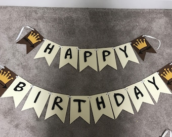 Wild things/ crown and arrows birthday banner