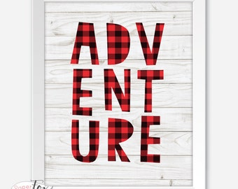 Nursery Art, Buffalo Plaid Baby, Adventure Print, Baby Boy Nursery, Lumberjack Baby, Wall Art Prints, Buffalo Check, Wall Art for Boys Room