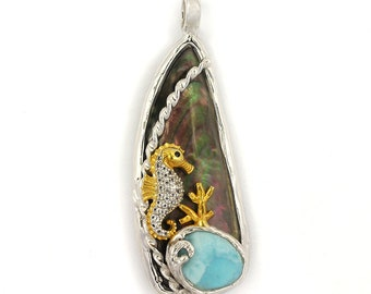 One of a Kind Black Shell Pendant with Seahorse
