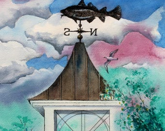 ORIGINAL Cod Weather Vane Watercolor Painting fish art Cottage Lake House Fishing Decor by Barry Singer