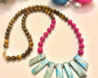 Turquoise, pink, and tigers eye beaded necklace