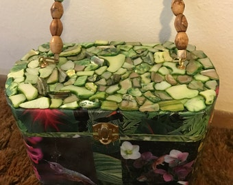 Green Abalone Decoupage Purse