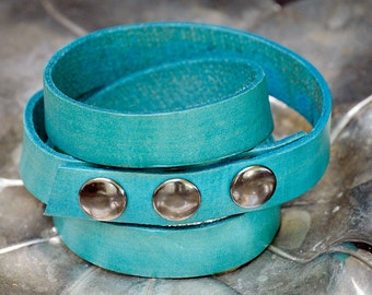 "5/8"" Thick Genuine Leather Handmade Color Bracelet"