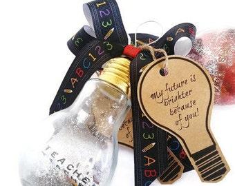 Teacher Ornament, Teacher Christmas Gift, Appreciation Gift, Teacher Present, Lightbulb Ornament, Hanukkah Gift, Coach Mentor Gift