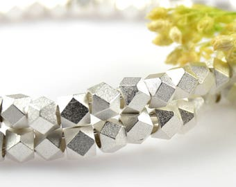 Matte Silver Beads, 4.5mm, Diamond Cut Beads, Tarnish Resistant Beads, Brass Beads, 2.5mm Hole