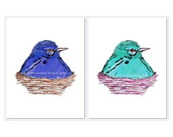 Birds in Nests Watercolor Art Prints , Blue and Aqua, Set of 2, Modern Bird Art, Kids Room Art, Contemporary Nursery Art