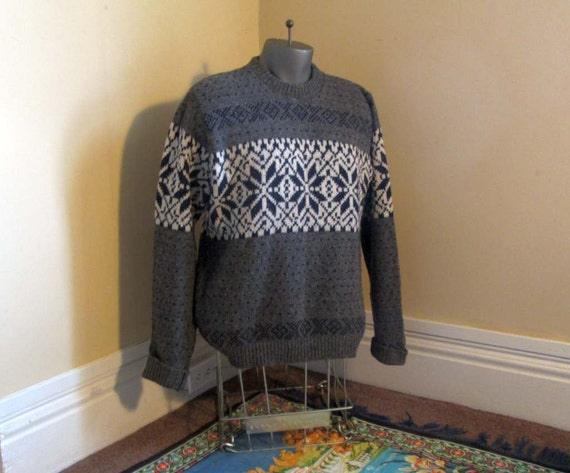 Snowflake Sweater vintage nordic sweater 70s vintage gray scandia sweater Gray wool sweater Cream and gray tweed sweater nordic pullover L qSHYZXs4YM
