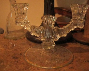 Vintage Glass, Etched Candleabra