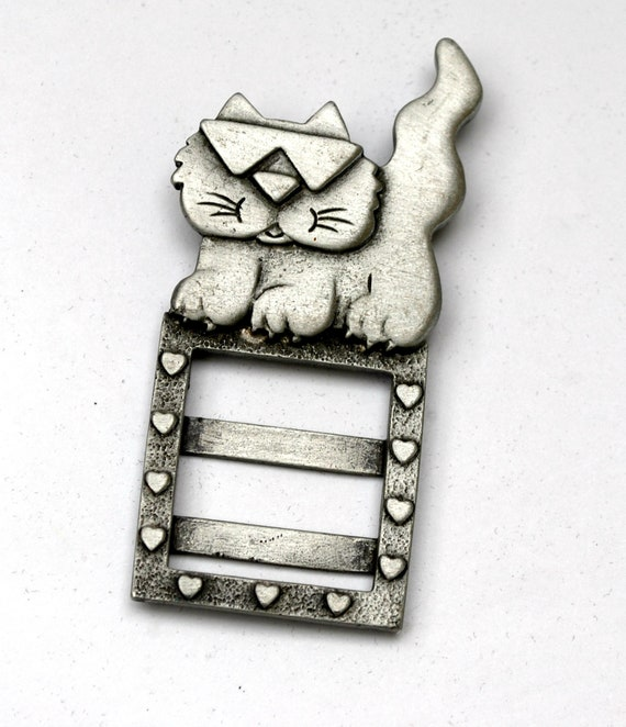 Pewter Cat  BROOCH Photo Frame Pin  JJ Jonette Jewelry figurine Pin gift for cat lover