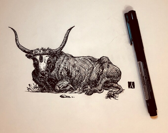 KillerBeeMoto: Original Pen & Ink Sketch of Laying Bull (Limited Prints Available As Well)
