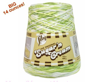 KEY LIME PIE 14oz Sugar N Cream yarn Cotton Yarn, Cotton Cone Yarn, Green variegated Cotton Yarn, Lily Sugar N Cream cotton yarn Lily >