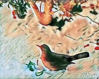 Blackbird and spring snow
