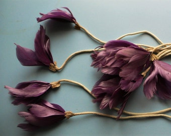 10 Antique Vintage feather & silk stem flowers handmade Millinery flowers // fabric flowers hat making