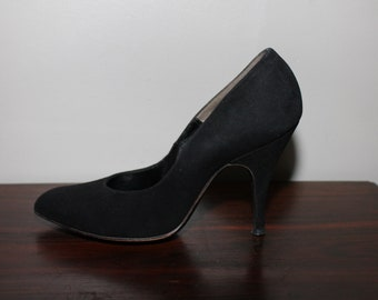 Vintage 50s Black Suede Shoes Pumps Stiletto Heels Club Kid Rave  Goth Gothic Pin Up Glamour 5.5 5 1/2