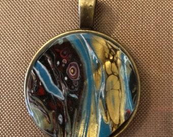 """Aqua/Teal/Gold 1"""" pendant"""