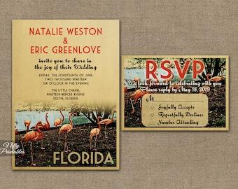 Florida Wedding Invitation - Printable Vintage Florida Flamingos Wedding Invites -  Pink Flamingo Retro Wedding Suite or Solo VTW