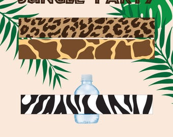 Jungle party water bottle wrappers,Safari birthday water bottle labels,Jungle party napkin ring,printable zoo party water bottle labels