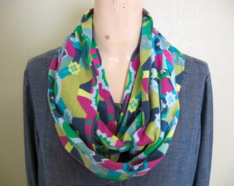 Boho Cotton Jersey Knit Extra Long Infinity Scarf in Marine Glow Amy Butler Floral