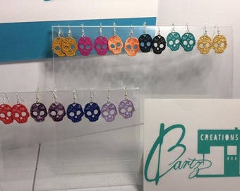 Embroidered Skull Lace Earrings