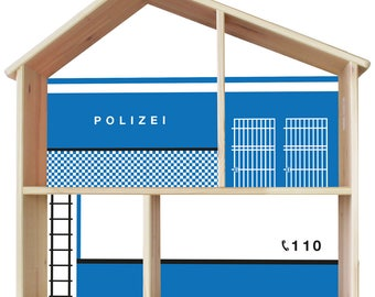 "Decal ""police station"" for IKEA dollhouse Flisat (1W-SH03-05) - DIY Doll's house - Furniture not included"